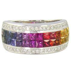 Multicolor Rainbow Sapphire & Diamond Invisible par RainbowSapphire, $1400,00