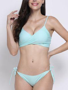 e258f0f89c Plus Size Women Sexy Pure Color Bikini Criss Cross Bandage Bikini Sets  Swimwear online - NewChic