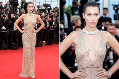 Los looks más impactantes del Festival de Cannes 2016  Bella Hadid impactó en el festival con este vestido bordado en color nude firmado por Roberto Cavalli. Foto: Gentileza prensa, Reuters, EFE