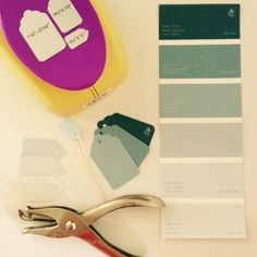 Recycling paint swatches to make price tags for my craft show booth | www.donnaberlanda.com