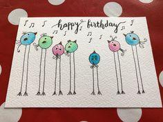 Cute little bird card - Geburtstagskarte Diy Homemade Birthday Cards, Kids Birthday Cards, Funny Birthday Cards, Homemade Cards, Birthday Gifts, Watercolor Birthday Cards, Watercolor Cards, Watercolor Artwork, Watercolour
