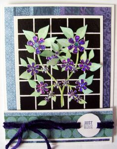 Dreamweaver stencil and paste.  Sizzix die and HOTP flower Dazzles