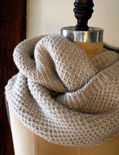 Knitting Pattern for 4 Row Classic Cowl - Easy cowl with a 4 row repeat of a slip stitch pattern. Designed by Purl Soho.