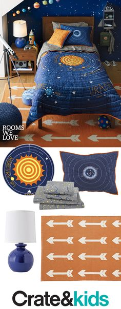 Our space-themed bedroom will become the center of your kid's universe. Discover out-of-this world constellation and Solar System designs that'll amaze any astronaut-in-training. Boys Space Bedroom, Outer Space Bedroom, Big Boy Bedrooms, Boys Room Decor, Girl Room, Blue Bedroom, Bedroom Themes, Bedroom Decor, Design Bedroom