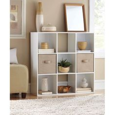 Mainstays 9 Cube Organizer with 2 Collabsible Fabric Storage Cubes, Mix and Match Colors, White Cube Storage Shelves, Cube Bookcase, Storage Spaces, Storage Cubes, Glass Shelves, Storage Organization, Floating Shelves, Bookcase White, Rack Shelf
