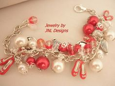 "Adjustable Red,White,and Crystal ""Wizard of Oz"" Inspired Charm Bracele 