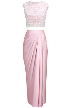 Pink satin skirt with crop salli jacket available only at Pernia's Pop-Up Shop.