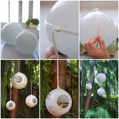 10 Creative DIY Bird Feeders A great round-up on DIY Bird Feeder projects from around the web with lots of Tutorials! Including this project on how to make a bird feeder from glass shades from 'the art of doing stuff'. Make A Bird Feeder, Bird Feeder Plans, Homemade Bird Feeders, Bird Feeder Hangers, Ideias Diy, Unique Gardens, Yard Art, Garden Projects, Bird Houses