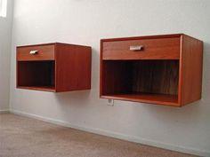 Mid Century Danish Modern Teak Floating Nightstands Tables | eBay