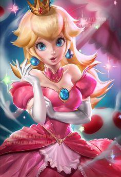 Princess Peach, Super Mario Bros series artwork by Sakimichan. Super Mario Bros, Super Mario Kunst, Super Smash Bros, Princesa Peach, Nintendo Characters, Video Game Characters, Nintendo Games, Super Nintendo, Mario Brothers