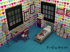 Set of bedroom items for the obsessed fan. All recolored items.  Found in TSR Category 'Sims 4 Sets'