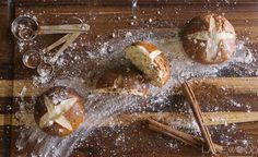 Lanewood Studio Food Photography. Pretzel bread with cinnamon sticks and measuring spoons covered with flour.