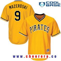 Men's Pittsburgh Pirates #9 Bill Mazeroski Yellow Pullover Stitched MLB Majestic Cool Base Jersey
