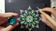 How to paint mandala for BEGINNERS!!#8 Green and Yellow Flower Tutorial!...