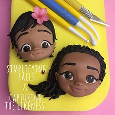 Crumb Avenue - Tutorials by Agnes Jagiello Simplifying Faces & Capturing Likeness Fondant Hair, Fondant Flower Cake, Fondant Bow, Fondant Toppers, Fondant Cakes, Flower Cakes, Cupcake Toppers, Easy Cake Decorating, Cake Decorating Techniques