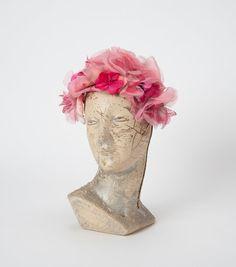Vintage 1950s Rose Floral Hat Pink Flower by missfarfalla on Etsy