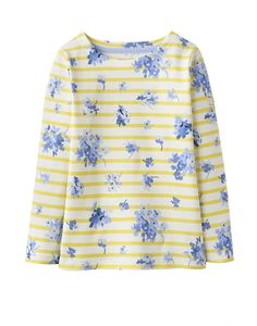 Joules Girls Harbour Yellow Stripe Printed Top 3-8Yrs c198a7466006b