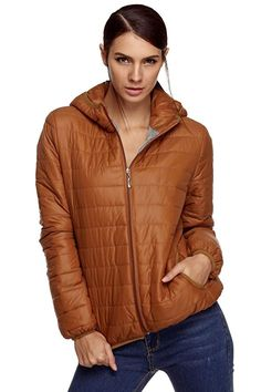 9e072dac3eb04 ELESOL Women s Hooded Lightweight Quilted Short Down Jacket Outwear Puffer  Coat Coffee Large