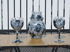 Hand painted Wine Glasses with matching Votive by ingeborgsorgent, $46.90