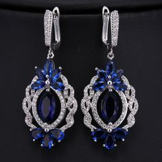 Find More Drop Earrings Information about Vintage Floral Shaped Created Royal Blue Navette Drop Clip on Earrings Silver Tone Open Strand Deco Arabic Chandelier Earrings,High Quality clip on earrings,China chandelier drop earrings Suppliers, Cheap chandelier earrings from Dreamland Dresses & Accessories on Aliexpress.com