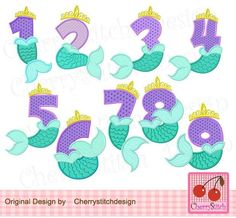 Mermaid Pinata, Cute Mermaid, The Little Mermaid, Mermaid Theme Birthday, 2nd Birthday, Theme Mickey, Unicorns And Mermaids, Birthday Numbers, Machine Embroidery Applique