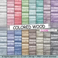 """Wood digital paper: """"COLORED WOOD"""" with wood background in red, purple, blue, beige, green, brown, neutral and black by clairetale. Explore more products on http://clairetale.etsy.com"""