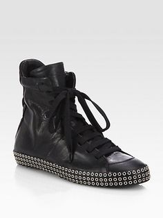 Costume National - Leather Studded Lace-Up Sneakers - Saks.com