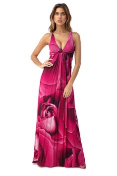 Rhinestones grace your back in this floral print maxi dress.    92% Viscose  8% Spandex   Made in the USA    Model is wearing XS
