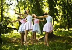 Fairy Dancers in sync in a springtime forest