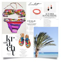 """""""Beach Destination"""" by dreamfashionjewelry ❤ liked on Polyvore featuring jewelry, swimsuit, handmade and madeinItaly"""