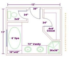 bathroom and closet floor plans bathroom design 11x13 sizefree 11x13 master bathroom floor plan with - Master Bathroom Dimensions