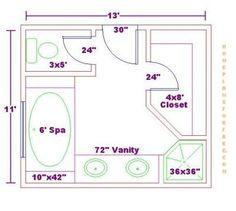 bathroom and closet floor plans | ... Bathroom Design 11x13 Size/Free 11x13 Master Bathroom Floor Plan with