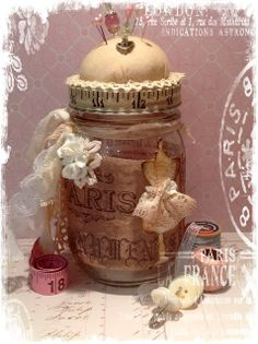 Altered mason jar pin cushion
