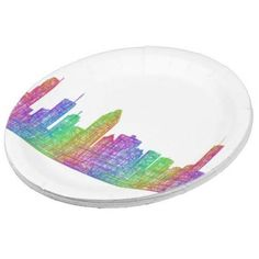 Montreal skyline 9 inch paper plate $1.95 *** Multicolor line art city silhouette of Montreal (Quebec). - paper plate