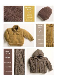 Modèles tricotés dans la laine CHEVAL BLANC. Qualités : QUITO et TOBIANE