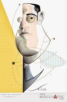 SouzaArte - Caricatura Vendas e Eventos: Há 70 anos o poeta Mário de Andrade http://www.souzaarte.com/#!/cnfd