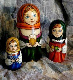 Three Matryoshkas - Russian nesting dolls. #folk #art #Russian #dolls