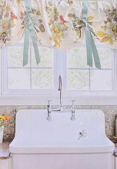 "ENVOGUE French Country Lined Kitchen Window Valance 54"" Birds Floral Teal Orange #envogue #valance"