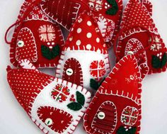 Felt Christmas ornaments, 3  House decorations, Red and white patchwork houses, Holiday decor.