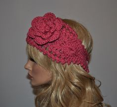 Crochet Ear Warmer, Handmade Crochet Headband with Flower. Fall and Winter Hair Accessories in Rose, Style 1WF. $18.00, via Etsy.