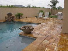 travertine slippery pool decks - Google Search Sandstone Pavers, Travertine Pavers, Pool Coping, Pool Waterfall, Pool Decks, Back Patio, Tuscany, Swimming Pools, Bbq Ideas