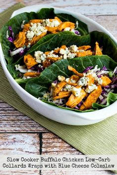 Buffalo chicken-collard wraps