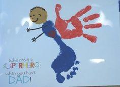 super hero dad kid hand and foot print craft | Handprint Footprint Superhero Craft for Daddy