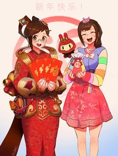Mei and D.Va Overwatch Lunar New Year art Year of the Rooster