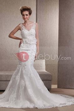 Spectacular Trumpet/Mermaid Flowers V-neck Floor-Length Chapel Embroidery Angerlika's Wedding Dress