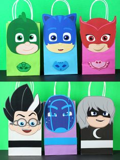 DIY PJ Mask Favor Bags.  Simply Download, Print, Cut and Paste. Print as many copies as you need.