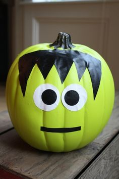Hello party animals try a new kid friendly spin on pumpkin decorating with easy diy kits turn - Breathtaking image of kid halloween decoration using frankestein jack o lantern pumpkin carving ...