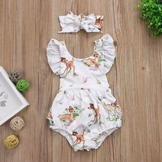 46437f9d8f00 US Newborn Infant Baby Girl Ruffle Deer Romper Bodysuit Jumpsuit Outfits  Clothes