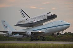 Space shuttle Endeavour, atop its Shuttle Carrier Aircraft, takes off on NASAs last-ever ferry flight from the Kennedy Space Center in Florida on Sept. 19, 2012.