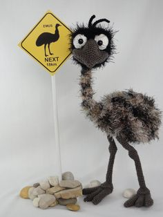 This is a crochet pattern and not the toy.  Following this pattern Emma the Emu will be approximately 35cm. The pattern is available in English.  More Cute Crochet, Crochet Birds, Crochet Animals, Knit Crochet, Crochet Patterns Amigurumi, Amigurumi Doll, Crochet Dolls, Crochet Stitches, Knitting Patterns